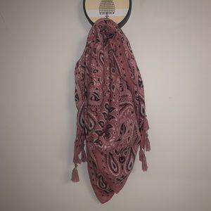 Pink bandana scarf with tassels